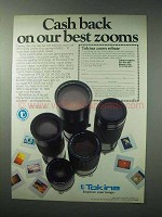 1984 Tokina ATX Series Zoom Lenses Ad - Cash Back