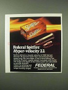 1984 Federal Spitfire Hyper-Velocity 22 Cartridges Ad