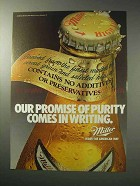 1986 Miller High Life Beer Ad - Promise of Purity