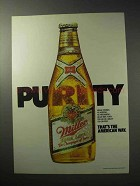 1986 Miller High Life Beer Ad - Purity