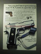 1986 Colt Officer's ACP Pistol Ad - Get 45 ACP Power
