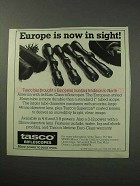 1986 Tasco Riflescopes Ad - Europe is Now in Sight