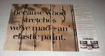 1986 ICI Dulux Paint Ad - Wood Stretches Elastic Paint