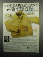1989 Columbia Grouse Parka Ad - Kill Two Birds at Once
