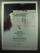 1987 The Mission Movie Soundtrack Ad - Ennio Morricone