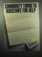 1987 Dove Soap Ad - Turns to Housewife for Help