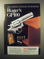 1987 Ruger GP100 Revolver Ad - Stainless .357