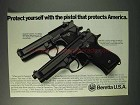1993 Beretta Model 92F Centurion and 92F Pistols Ad