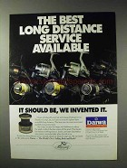 1992 Daiwa Long Cast Spool Ad - Best Service Available