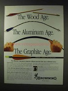 1992 Browning Mirage Graphite Arrows Ad - Wood Age