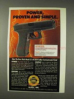 1991 Glock Model 22 Pistol Ad - Power Proven and Simple