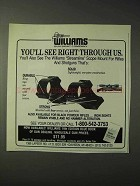 1990 Williams Gun Sight Mounts Ad - See Through Us