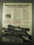 1974 Weatherby Premier and Mark XXII Scopes Ad