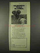 1974 Zambia Airways Ad - Wilderness Trails