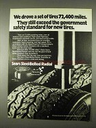 1974 Sears Steel Belted Radial Tires Ad - 72,400 Miles