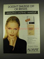 1996 Almay Amazing Lasting Makeup Ad - Doesn't Smudge