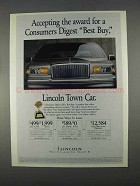 1996 Lincoln Town Car Ad - Consumers Digest Best Buy