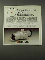 1995 Simmons Master Red Dot Scope Ad - Put on the Spot
