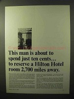 1964 Hilton Hotel Ad - Reserve Room 2,700 Miles Away