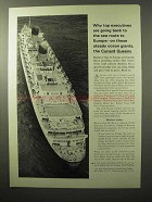 1964 Cunard Cruise Ad - Top Executives Are Going Back