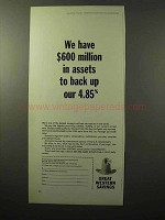 1964 Great Western Savings Ad - $600 Million in Assets