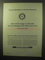 1964 The Toronto-Dominion Bank Ad - Welcomes Rotarians