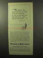 1964 Marsh & McLennan Insurance Ad - Important