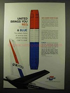 1964 United Airlines Ad - Brings You Red, White & Blue