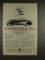 1927 Chrysler 70 Car Ad - Drive to Know and Appreciate!