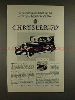 1927 Chrysler 70 Car Ad - Conception Started the Sweep!