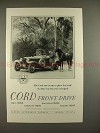 1929 Cord Car Ad w/ Horse - Cord Front Drive - NICE!!