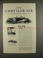 1930 Chrysler Six Convertible Coupe Ad - NICE!!