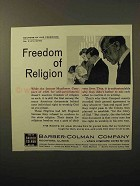 1964 Barber-Colman Company Ad - Freedom of Religion
