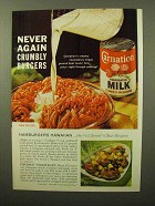 1964 Carnation Evaporated Milk Ad - Crumbly Burgers
