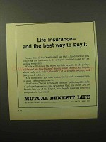 1964 Mutual Benefit Life Ad - Best Way to Buy It