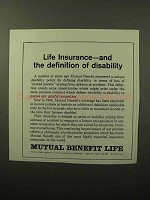 1964 Mutual Benefit Life Ad - Definition of Disability