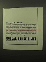 1964 Mutual Benefit Life Ad - Money As You Like It