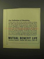 1964 Mutual Benefit Life Ad - Disability