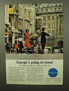 1964 Pan Am Airlines Ad - Europe's Going to Town!