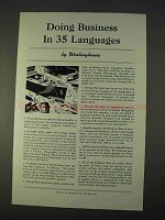 1940 Westinghouse Ad - Doing Business in 35 Languages