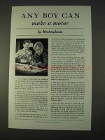 1940 Westinghouse Ad - Any Boy Can Make a Motor