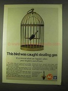 1974 AC Spark Plug Ad - Bird Caught Stealing Gas