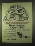 1974 AC Oil Filter Ad - Think Months, Not Just Miles