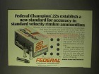 1974 Federal Cartridge Ad - New Standard for Accuracy