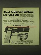 1974 Browning 9mm Hi-Power Pistol Ad - Shoot Big Gun