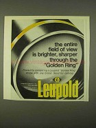 1974 Leupold Golden Ring Scope Ad - Field of View