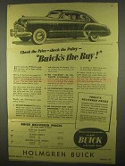 1949 Buick Super Car Ad - Check the Price Check Policy