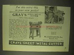 1922 Gray's Sheet Metal Cutter Ad - Extra in Pocket