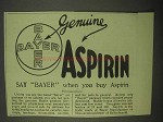 1922 Bayer Aspirin Ad - Say Bayer When You Buy Aspirin