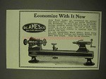 1922 B.C. Ames Bench Lathes Ad - Economize With It